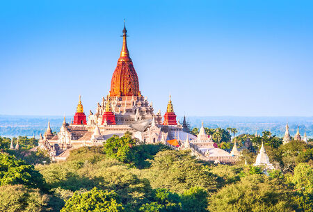 Ancient pagodas in Bagan with altitude balloon Myanmar photo