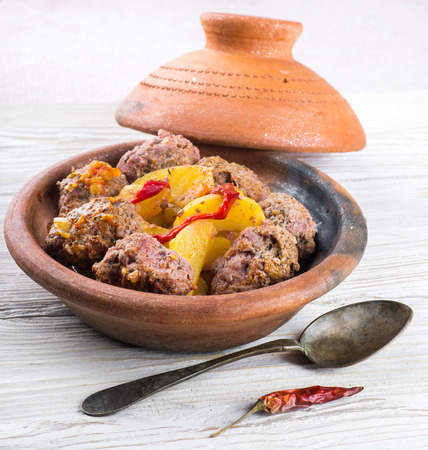 Moroccan meatballs with peppers on the eastern dish photo