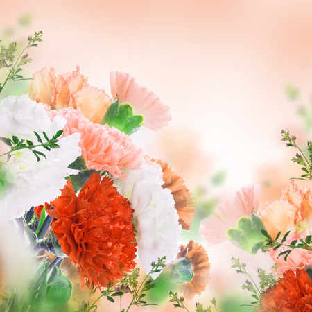 Floral background of roses and lilies, wild flowers photo