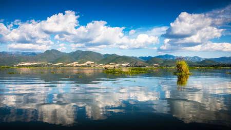 Dawn on Inle Lake, Myanmar photo