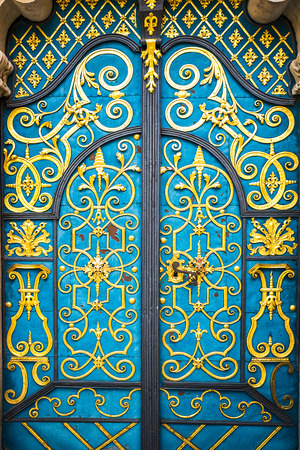 Architectural elements of the old European-style doors photo