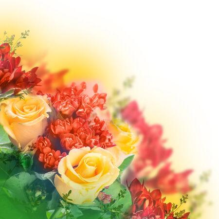 rosas amarillas: Ramo de rosas amarillas, fondo floral Foto de archivo