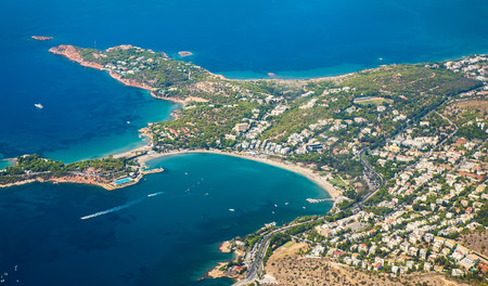 thassos: Greek Islands with birds-eye view of the bay with yachts Stock Photo