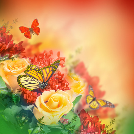 arrangement: Bouquet of yellow roses, butterfly Stock Photo