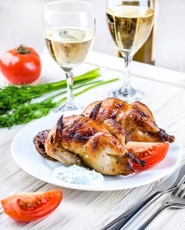 carcasses: Carcasses of quail with tomatoes and wine. Stock Photo