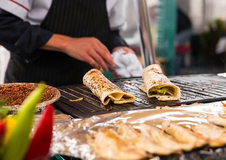 Cooking salmon kebab Turkish bazaar in Istanbul