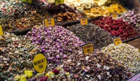 bazaar: Spices, teas at the bazaar. The Turkish market.