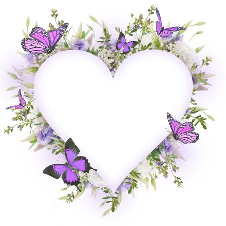 Bruidsboeket van witte en roze bloemen, vlinder Stockfoto - 55066885