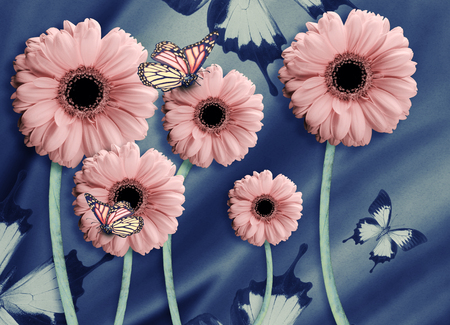 applied: Floral background of chrysanthemums, bright flowers on a gray. Applied a filter with grain.