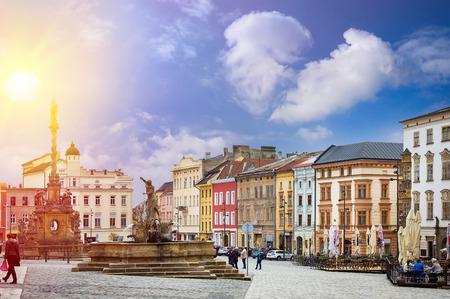 체코 Olomouc의 역사적인 명소. 유럽의 도시. 스톡 콘텐츠