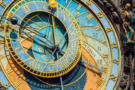 The old astronomical clock is one of the main sights of  Prague. The historical center of the city. Stock Photo