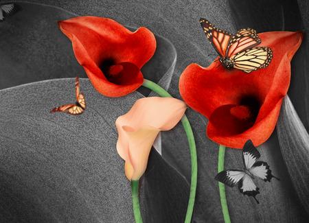 Verbazingwekkende callas op een grijze achtergrond met vlinders. Boeket bloemen. Stockfoto