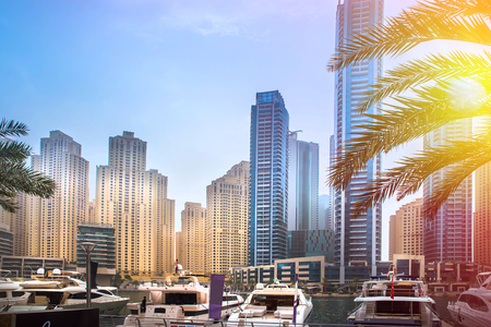 General view of Dubai Marina. Line of the city skyline. Foto de archivo