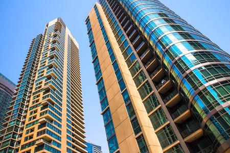 General view of Dubai Marina. Line of the city skyline. Stok Fotoğraf
