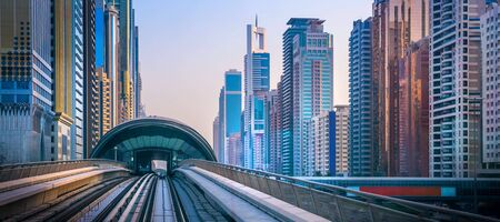 General view of Dubai Marina. Line of the city skyline. Фото со стока