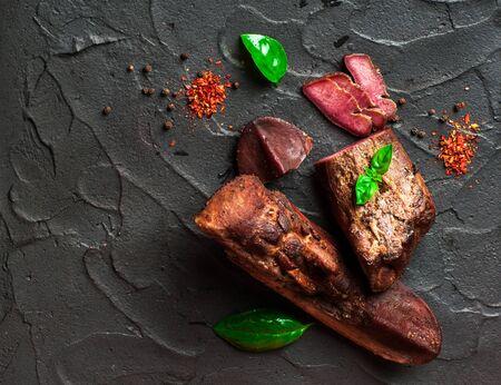 Delicious smoked tongue. Delicious meat. Reklamní fotografie