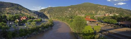 Panoramic of the Colorado River in Glenwood Springs, Colorado.