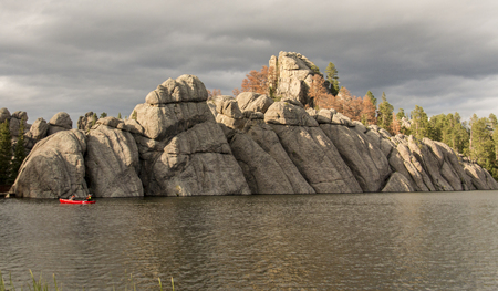 An unusual rock formation on the bank of Sylvan Lake in South Dakota.