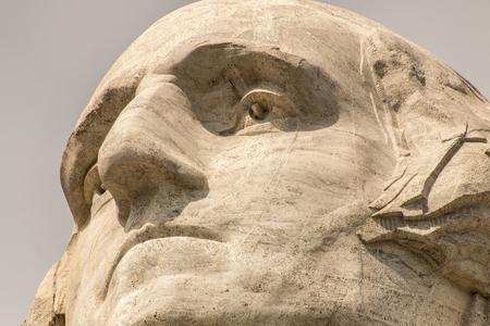 Keystone, SDUSA - August 25, 2014: A close-up photo of George Washingtons face on Mount Rushmore.