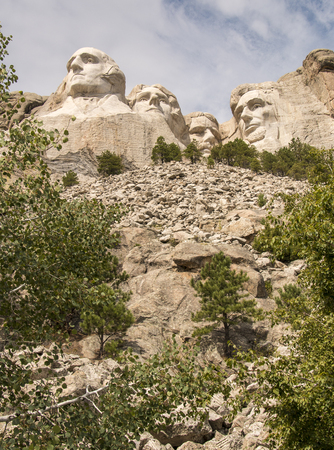 Keystone, SDUSA - August 25, 2014: A view of Mount Rushmore from the base of the mountain. Editorial