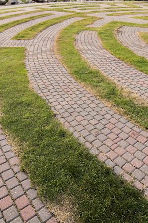 A brick walkway in a public park in Edina, Minnesota.
