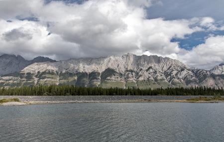 A mountain range visible from Lower Kananaskis Lake.