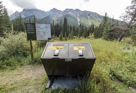Bear-proof garbage bins in the Kananaskis mountains. Stock fotó