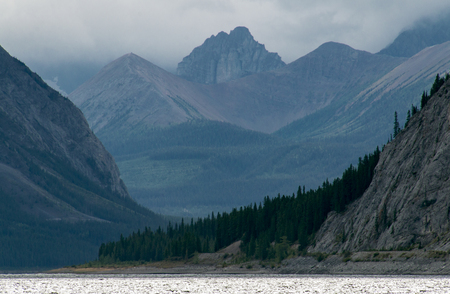 Mountains visible through the mist in Kananaskis country. Stock fotó
