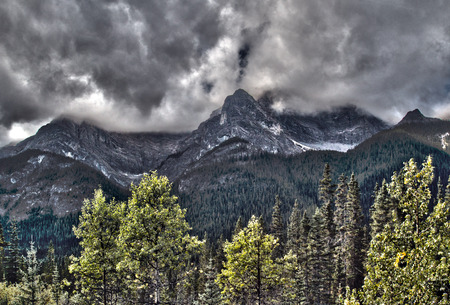 An HDR image of a mountain in Kananaskis country. Stock fotó