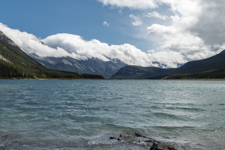 Beautiful mountains serve as a backdrop to the Spray Lakes Reservoir in Kananaskis country. Stock fotó