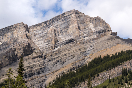 A chiseled and primordial mountain in Kananaskis country.