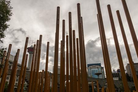 Calgary, AlbertaCanada – August 30, 2015: The Calgary Parks 100th Anniversary Installation in Calgary, Alberta.