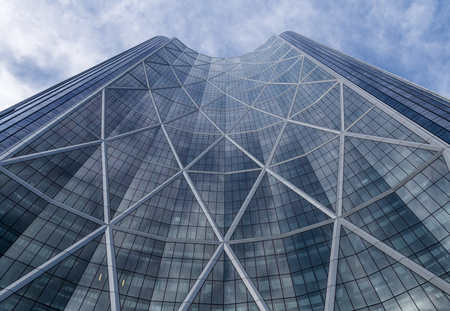 Calgary, AlbertaCanada – August 30, 2015: An upward view of The Bow, a skyscraper in Calgary, Alberta.