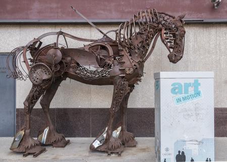 Calgary, AlbertaCanada – August 30, 2015: A found metal horse sculpture by Russell Zeid stands outside a restaurant in Calgary, Alberta. Sajtókép