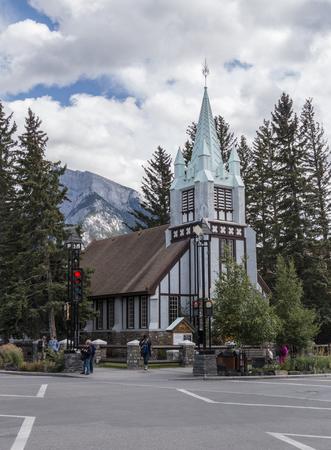 Banff, AlbertaCanada – August 31, 2015: A view of St. Pauls Presbyterian Church on Banff Avenue in Banff, Alberta.