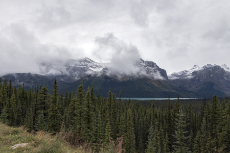 The spectacular view from a turnout along the Icefields Parkway in Banff National Park, Alberta, Canada. Stock Photo