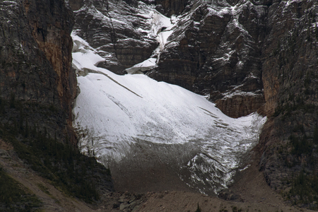 The smallest trace of a glacier is spotted near the Bow River in Alberta, Canada along the Icefields Parkway.