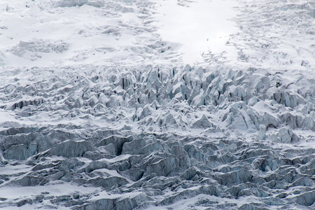Rough and tightly compressed ice on the Columbia Icefield in Jasper National Park in Alberta, Canada.