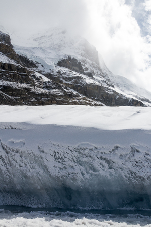 Facing the edge of the ice while standing on the Columbia Icefield in Alberta, Canada.