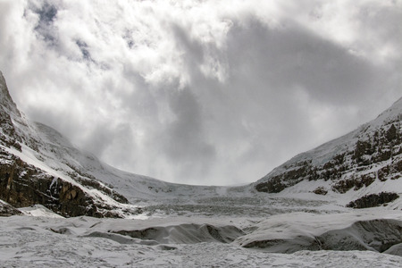 A view of Athabasca Glacier from the Columbia Icefield in Alberta, Canada.