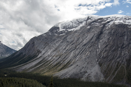 icefield: A dramatic and graceful mountain with a smoothly eroded side in Banff National Park in Alberta, Canada. Stock Photo