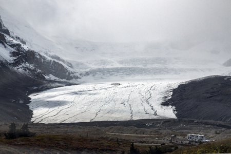 The Columbia Icefield, which is part of the Athabasca Glacier in Jasper National Park in Alberta, Canada.