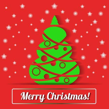 Christmas tree vector background. Christmas greeting card. Illustration