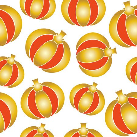 Seamless pattern with golden pumpkins. Vector illustration on a white background.