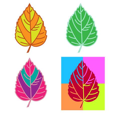 Multicolor leaves set on a white background. Vector illustration. Illustration