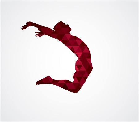 jump for joy: Silhouette of a jumping man. Text and background on a separate layer, color can be changed in one click. Jumping man Illustration