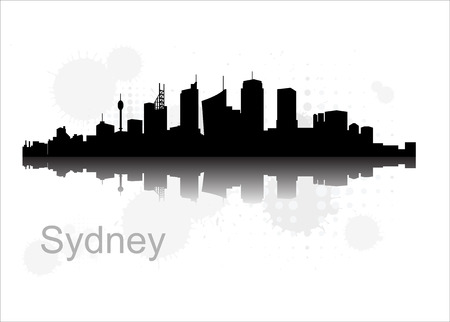 sydney skyline: Sydney city skyline vector flat design monochrome illustration, black silhouette Illustration