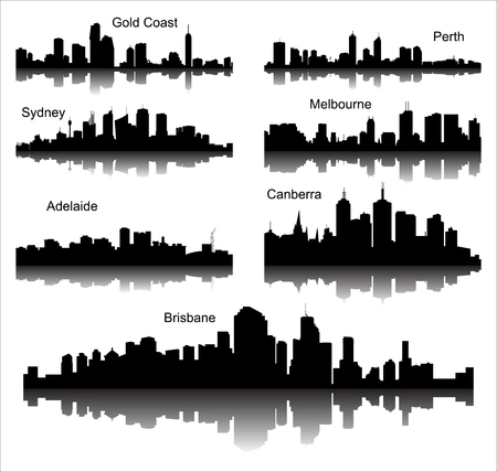 Collection of Detailed vector silhouettes of Australian cities  イラスト・ベクター素材