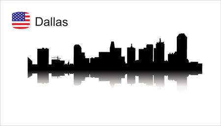 Dallas USA city skyline silhouette vector illustration 向量圖像