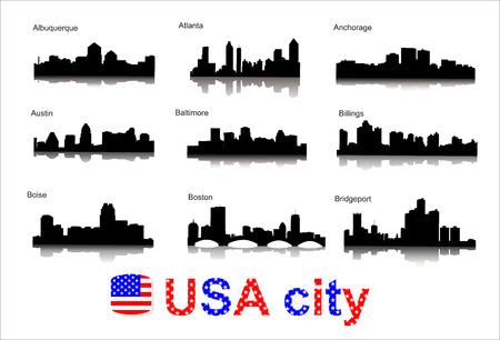 Gedetailleerde vector silhouetten van wereldsteden